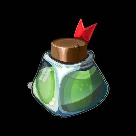 Old magic bottle, magical green potion in glass or liquid poison drink of alchemy or chemistry. illustration vector game icon, item. Magnificent elixir isolated on background.