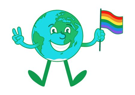 Cartoon character of cute and happy planet, blue earth which jumping and hold LGBT pride flag and show peace sign. Modern vector flat design illustration.