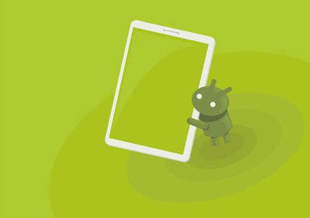 android tablet: green tablet eat Illustration