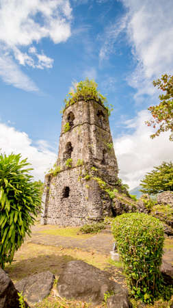 Cagsawa church ruins with Mount Mayon volcano in the background, Legazpi, Philippines.