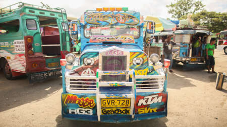Manila, Philippines - January 5, 2018: Jeepney is the most popular public transport in the Philippines.