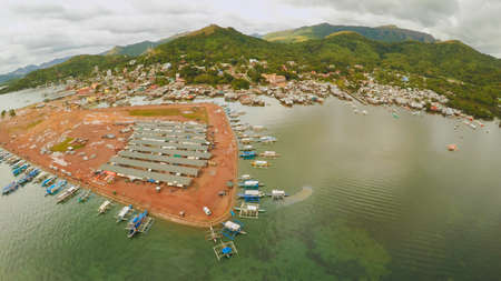 Berth with boats in the town of Coron. Palawan. Philippines.