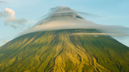 Mount Mayon Volcano in the province of Bicol, Philippines. Clouds Timelapse.