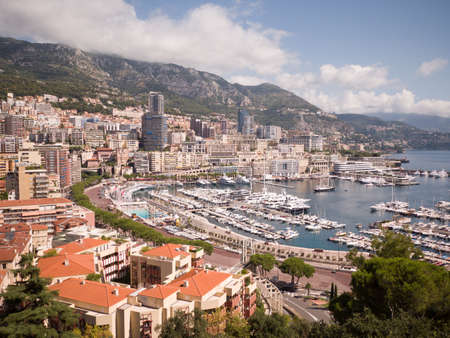 Panoramic view of Monte Carlo harbour in Monaco.