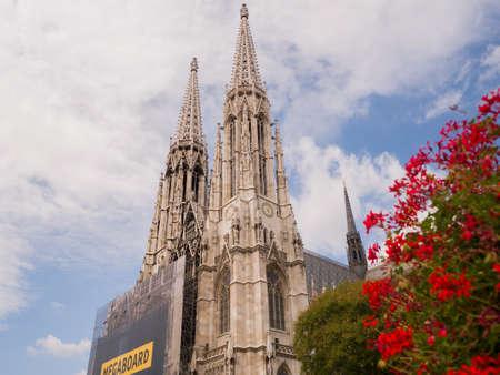 Vienna, Austria - August 13, 2018: Votive Church, neo-gothic church, the second-tallest church in Vienna.