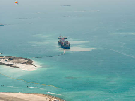 Dredging ship creating new island in Dubai