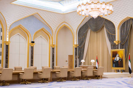 Abu Dhabi, UAE - December 15, 2019: Qasr al-Watan the Palace. Reception hall of highly-favored politicians.