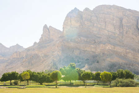 Mountains near the hot thermal springs in the United Arab Emirates near Ain Al