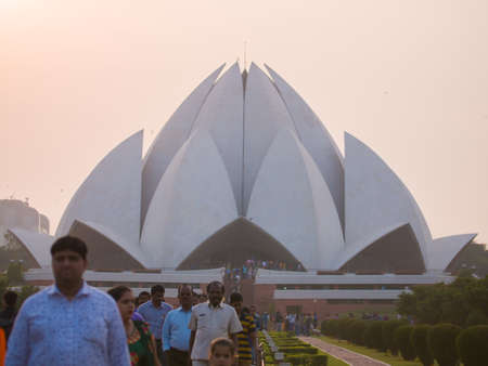 New Delhi, India - November 28, 2018: People visiting Lotus Temple.