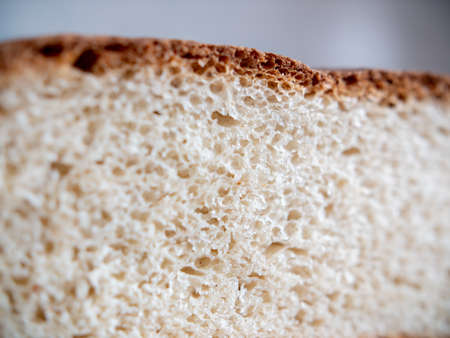 Porous white roll in a section. Close-up.