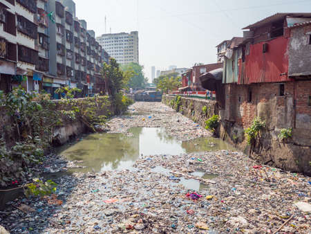 Poor and impoverished slums of Dharavi in the city of Mumbai Stock Photo