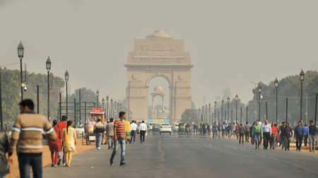 Delhi, India - November 28, 2018: Avenue in Delhi with the landmark of the Gate of Idia.