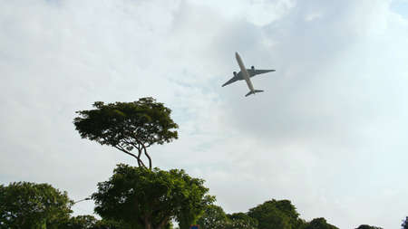 Take-off aircraft on the background of trees in the Indonesian village.