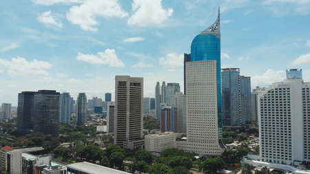 Aerial panorama of the city center with skyscrapers Jakarta. Indonesia.