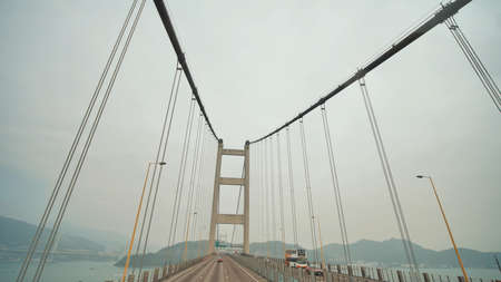 Movement on the Tsing Ma Bridge in Hong Kong on the way to the airport.