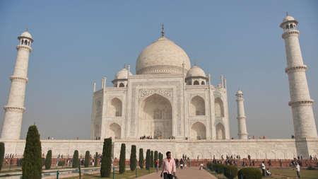 Delhi, India - November 28, 2018: Temple Taj Mahal visited by tourists.