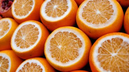 Sliced oranges on the streets of Ankara. Turkey.