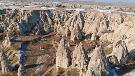 Cappadocia, Gereme, Turkey. Beautiful mountains of volcanic origin.