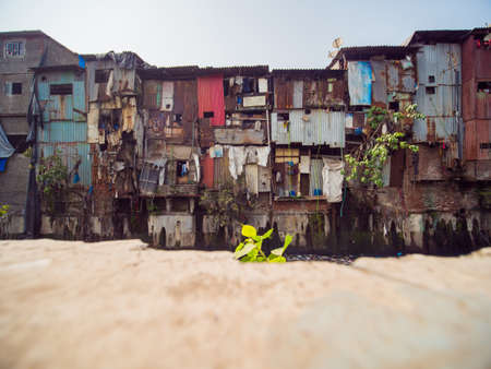 Poor and impoverished slums of Dharavi in the city of Mumbai.