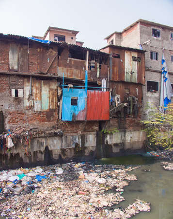 Poor and impoverished slums of Dharavi in the city of Mumbai