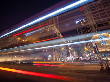 Hong Kong, China - January 19, 2019: Blurred traffic lights at night in Hong Kong.
