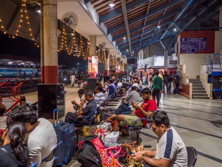 Agra, India - December 12, 2019: Railway station in the city of Agra in the evening. Editoriali