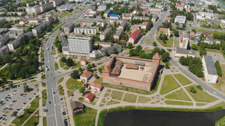 Aerial panorama of the historic city of Lida with a castle. Belarus