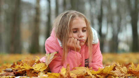 A little girl indifferently lies on the autumn foliage in a city park. 写真素材