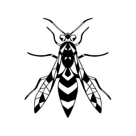 Vector icon insect-Wasp .Black vector icon isolated on a white background.