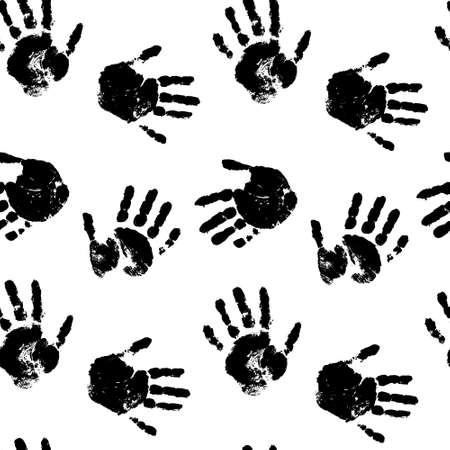 Childrens hands black and white seamless print. Isolated background