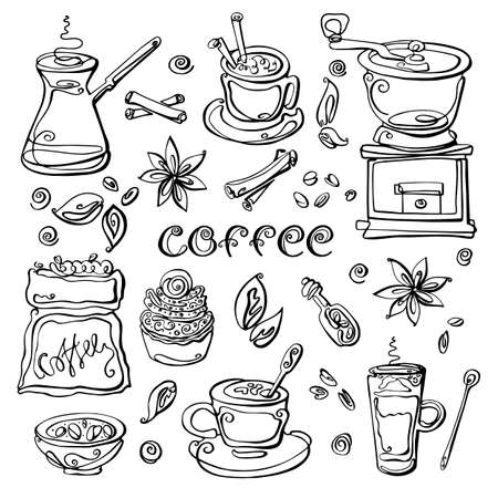 Coffee set. Collection of hand drawn sketches in one line style. Cup, coffee maker, coffee grain, spoon , coffee grinder,cinnamon, latte,vanile,cappuccino,cake, coffee bag, lettering. Elements isolated on white background