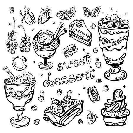 Dessert set. Collection of hand-drawn sketches in the style of one line. Cake, ice cream, macaroni, currant, strawberry, orange, lettering. Elements isolated on a white background