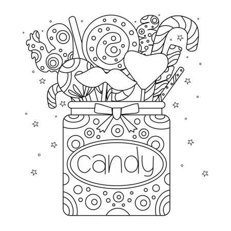 Ein Glas Süßigkeiten. Vorlage für eine Malbuchseite. Umreißen Sie Doodle-Vektor-Illustration.
