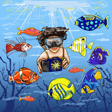 A girl photographs a colorful underwater world with exotic fish. Vector illustration.