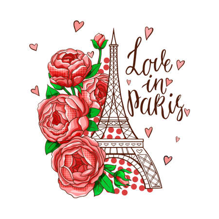 The Eiffel tower symbol with spring blooming flowers on a white background. Vector illustration.