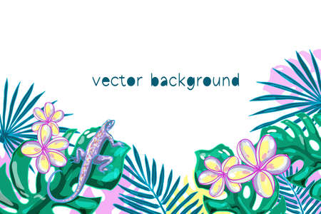 Colorful exotic vector isolated background. Summer. Banner, print.  イラスト・ベクター素材