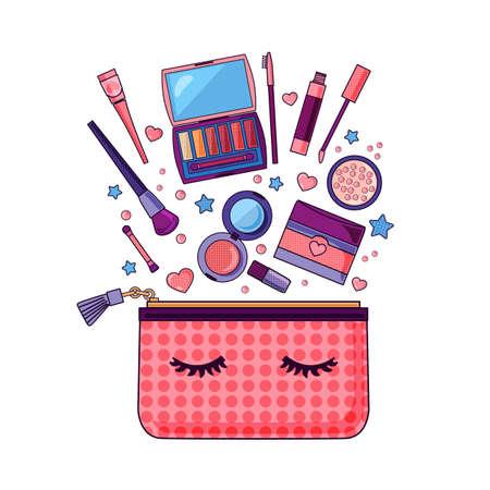 Flat icon of cosmetics product. Vector design of make up procedure. Make up. Make up vector details. Flat illustration of make up. Pop-art.