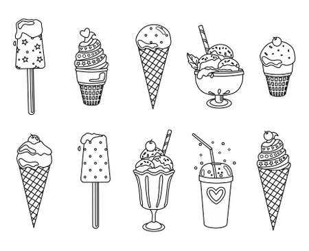 A set of black and white ice cream outlines on an isolated background. Icon, coloring book.