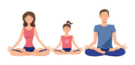 A nice family is meditating. Isolated white background.Vector.
