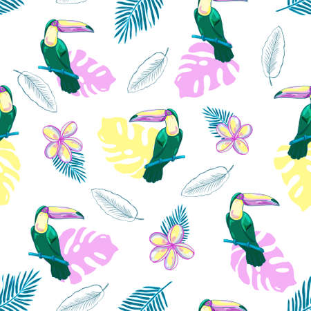 Seamless tropical pattern with toucans, flowers and palm leaves. Vector background.