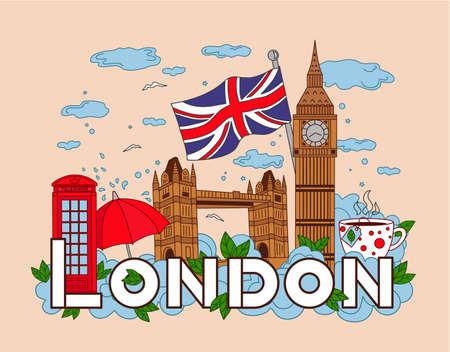 Infographics of London travel. Vector background, big Ben, tower bridge, phone, Cup of tea, umbrella, clouds, rain.