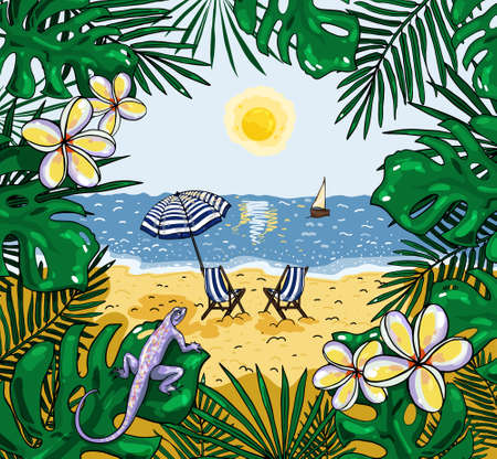 Illustration of the view of the beach with a beach umbrella and chairs 写真素材 - 149525734
