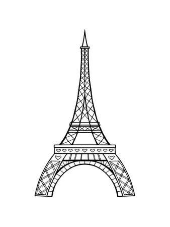 Vector Eiffel tower isolated on a white background. Hand drawing.