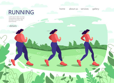 A girl runs through the Park. Before and after. Park, trees and hills on a green background. Banner, website, poster template with space for your text.Vector illustration. Illustration
