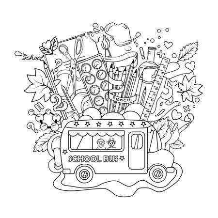 Vector illustration with a bus and school items on a white isolated background. Outline. Coloring book. Objects are isolated. Illustration