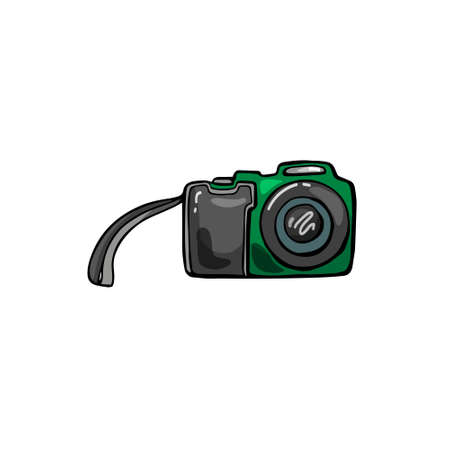 Cartoon illustration of a camera on a white isolated background. Vector. Hand drawing.