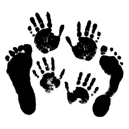 Hand and footprints of adults and children on a white isolated background. Vector. 向量圖像