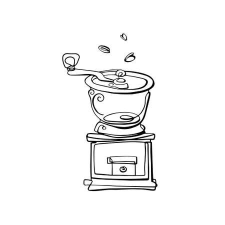Coffee grinder drawn with a single line . Vector illustration on a white isolated background. Icon. Illustration