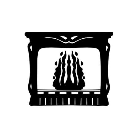 Silhouette of a fireplace with a fire on a white isolated background. Home. Vector. Illustration