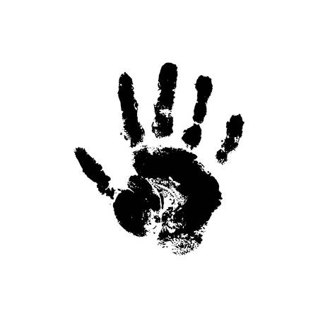 Vector handprint on a white isolated background.